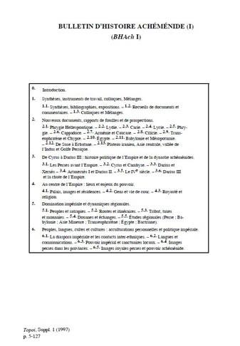 Bulletin d'Histoire Achéménide I